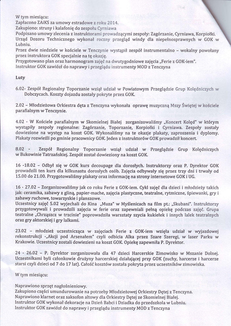 GOK WYKONANIE BUDŻETU 2015-2